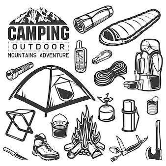 Symbole für camping- und wanderausrüstung. zelt, logo, rucksack, lagerfeuer, messer, axt, taschenlampe, gps, thermoskanne, stiefel, berg, essen.