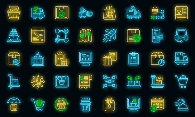 Symbole für den bestellvorgang festgelegt. umrisse von bestellprozess-vektorsymbolen neonfarbe auf schwarz