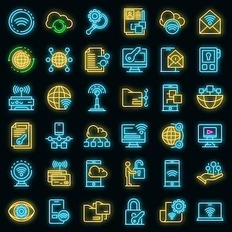 Symbole für den fernzugriff festgelegt. umrisse von vektorsymbolen für den fernzugriff in neonfarbe auf schwarz