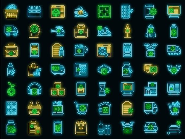 Symbole für die arzneimittelabgabe festgelegt. umrisse von vektorsymbolen für die medikamentenabgabe in neonfarbe auf schwarz