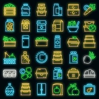 Symbole für die aufbewahrung von lebensmitteln festgelegt. umrisse von vektorsymbolen für die lebensmittellagerung in neonfarbe auf schwarz