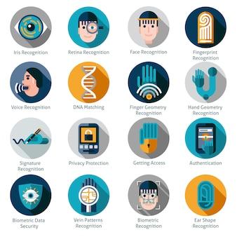 Symbole für die biometrische authentifizierung