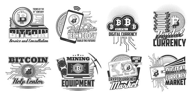 Symbole für die bitcoin-kryptowährungs-blockchain-technologie. laptop-computer, mobiltelefon und grafikkarte, bitcoin-münzen, bankkarte und brieftasche gravierter vektor. digitaler währungsmarkt, bergbauausrüstungsemblem
