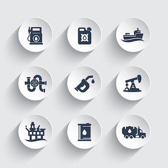 Symbole für die erdölindustrie, tankstelle, benzinkanister, benzindüse, vektorpiktogramme für ölförderplattformen