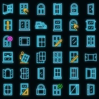 Symbole für die fensterinstallation festgelegt. umrisse von fensterinstallationsvektorsymbolen neonfarbe auf schwarz