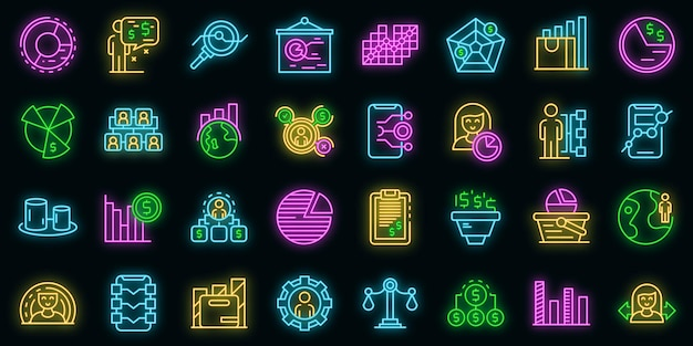 Symbole für die marktsegmentierung festgelegt. umreißen sie den satz von marktsegmentierungsvektorsymbolen neonfarbe auf schwarz