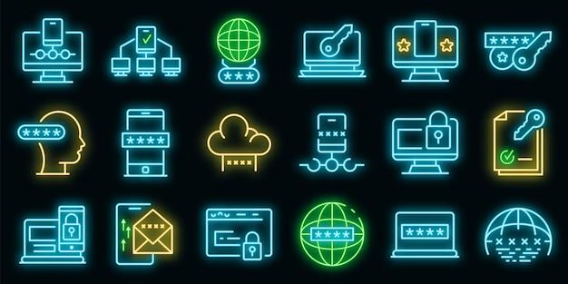 Symbole für die multi-faktor-authentifizierung festgelegt. umrisse von multi-faktor-authentifizierungsvektorsymbolen neonfarbe auf schwarz