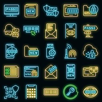 Symbole für die passwortwiederherstellung festgelegt. umrisse von vektorsymbolen zur passwortwiederherstellung neonfarbe auf schwarz