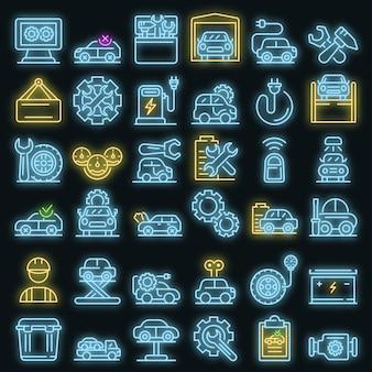 Symbole für die reparatur von elektrofahrzeugen festgelegt. umrisse von elektrofahrzeug-reparaturvektorsymbolen neonfarbe auf schwarz
