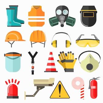 Symbole für die sicherheitsarbeit. sicherheit an der arbeitsvektor-ikonensammlung.