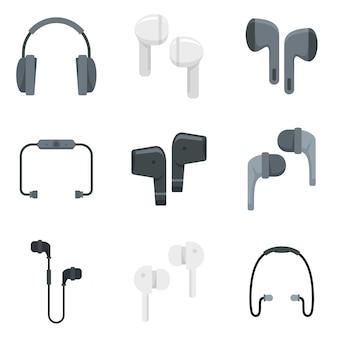 Symbole für drahtlose ohrhörer gesetzt. flacher satz drahtloser ohrhörer-vektorikonen lokalisiert auf weißem hintergrund