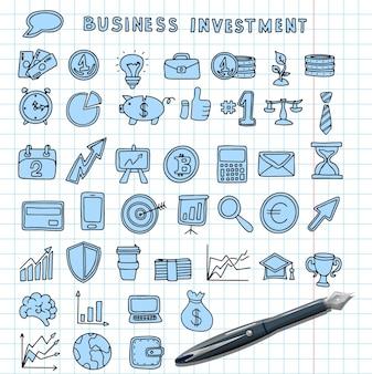 Symbole für finanzinvestitionen vektor handgezeichnete finanzsymbole ein großer doodle-satz von bildern für unternehmen