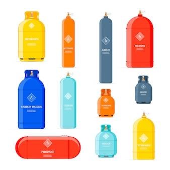 Symbole für gasflaschen. erdölsicherheitsbrennstoffmetalltank von heliumbutanacetylen-cartoonobjekten isoliert. tank butan und propan, gasflasche