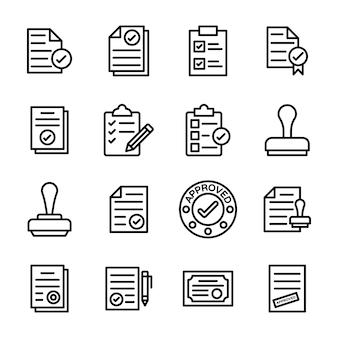 Symbole für genehmigtes dokument und dokumentüberprüfung