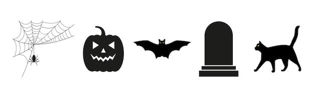 Symbole für halloween kürbis spinnennetz fledermaus katze und grabstein vektorgrafiken