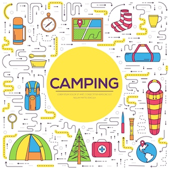 Symbole für ihr produktweb und mobile anwendungen. campingausrüstung set kreis infografiken.