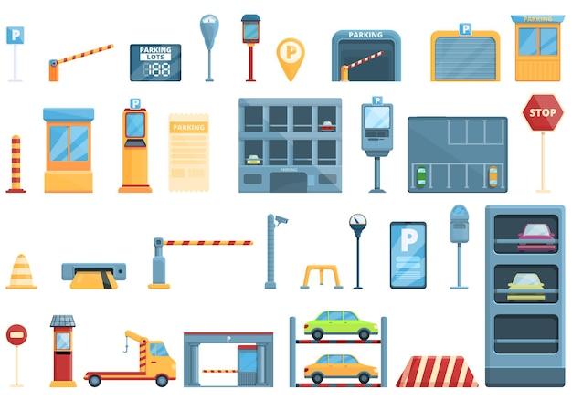 Symbole für kostenpflichtige parkplätze festgelegt. cartoon-reihe von symbolen für kostenpflichtige parkplätze parking
