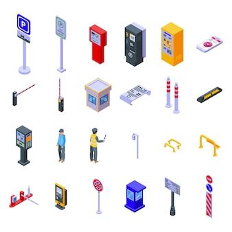Symbole für kostenpflichtige parkplätze festgelegt. isometrischer satz bezahlter parkvektorikonen für webdesign lokalisiert auf weißem hintergrund