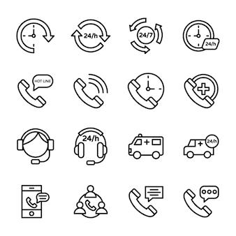 Symbole für kundendienst, hotline und kundendienst