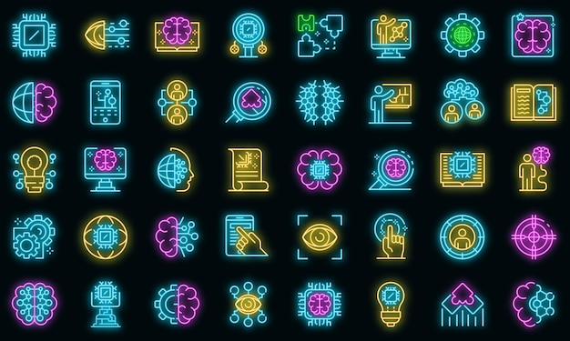 Symbole für maschinelles lernen festgelegt. umrisse von vektorsymbolen für maschinelles lernen neonfarbe auf schwarz