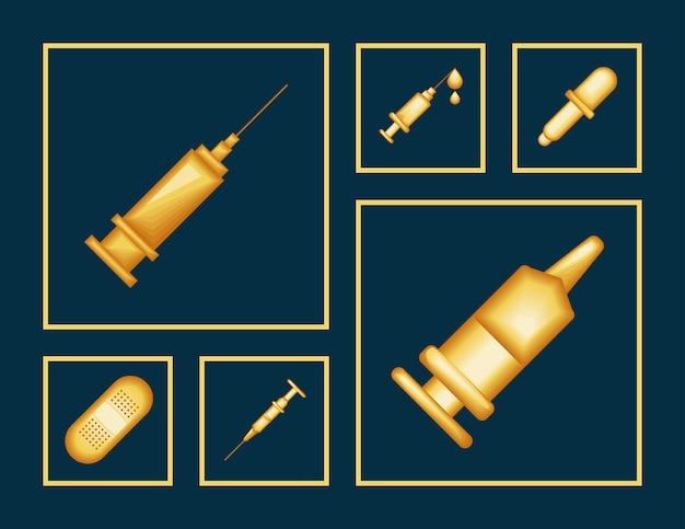 Symbole für medizinische spritzen