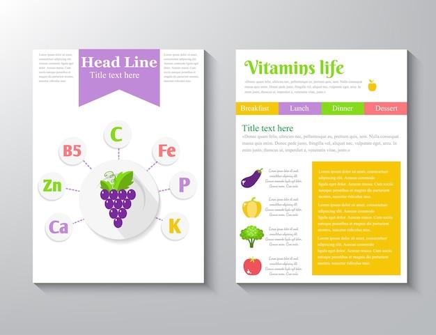 Symbole für mineral-vitamin-ergänzungen. gesundheit nutzen flacher vektor icon set, text brief logo isoliert auf weißem hintergrund.