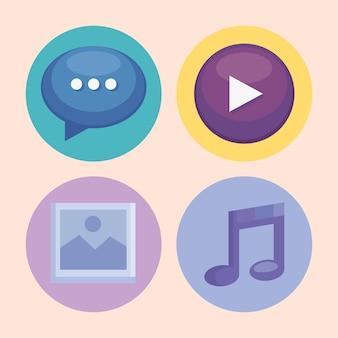 Symbole für multimedia-inhalte