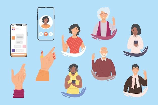 Symbole für nachrichten und videoanrufe