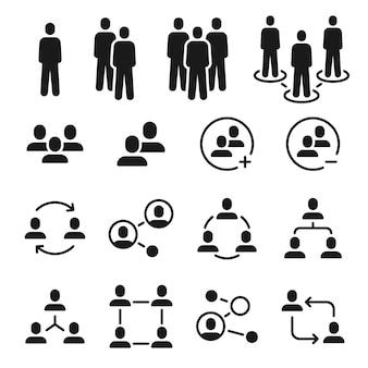 Symbole für netzwerkgruppen. soziale gemeinschaft, geschäftsteamstruktur, symbol für die kommunikation der menschen. mitglied zum vektorsatz für mitarbeiterbesprechungen hinzufügen. kommunikationsverbindung der illustrationsgemeinschaft, vernetzung von menschen