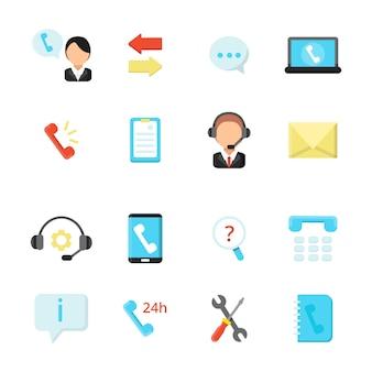 Symbole für online-support und callcenter. vektorsymbole im flachen stil