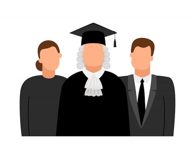 Symbole für richter, anwälte und staatsanwälte