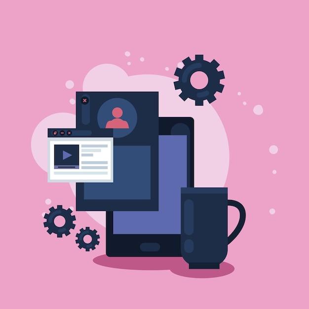 Symbole für smartphone und webdesign