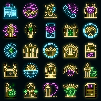 Symbole für soziale dienste festgelegt. umrisse von sozialen dienstvektorsymbolen neonfarbe auf schwarz