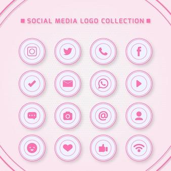 Symbole für soziale netzwerke mit rosa farben