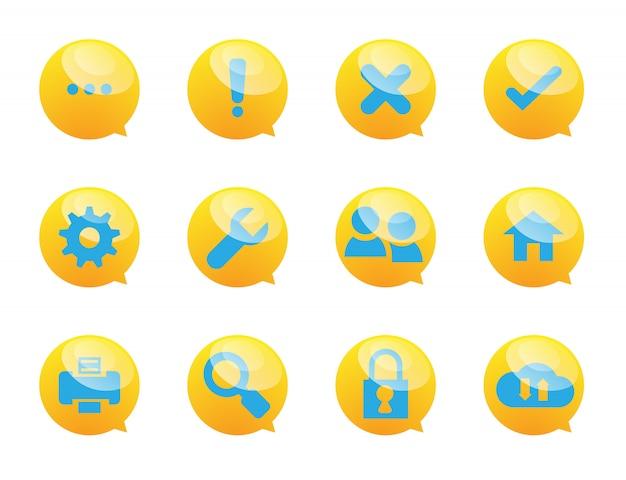 Symbole für sprechblase und systemdienste