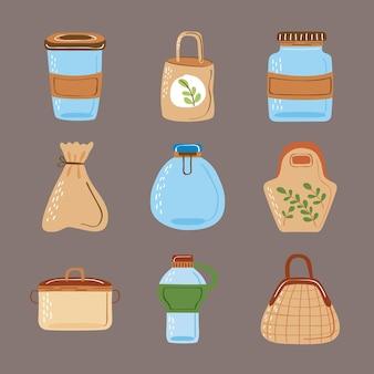 Symbole für wiederverwendbare behälter und taschen
