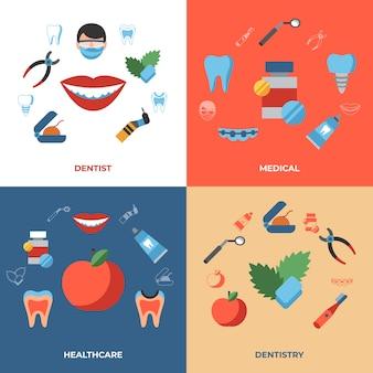 Symbole für zahnheilkunde und gesundheitswesen