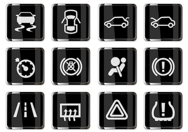 Symbole icons set isoliert für auto interface design. piktogramme in schwarzen chromknöpfen.