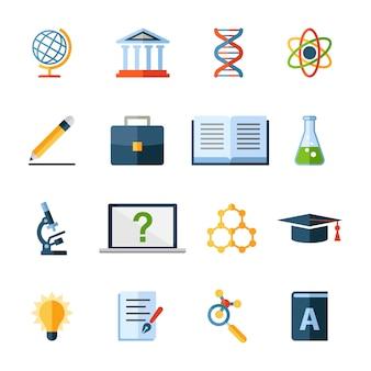 Symbole oder elemente für wissenschaft und bildung