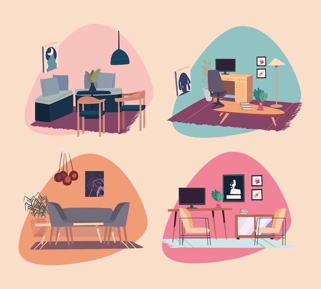 Symbolgruppe für wohnräume und wohnzimmerdekoration
