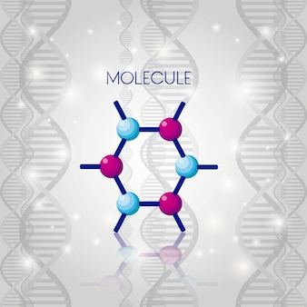 Symbolikonenvektorillustrationsdesign der molekülstruktur chemisches