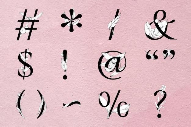 Symbolsatz botanisch dekorierte typografie