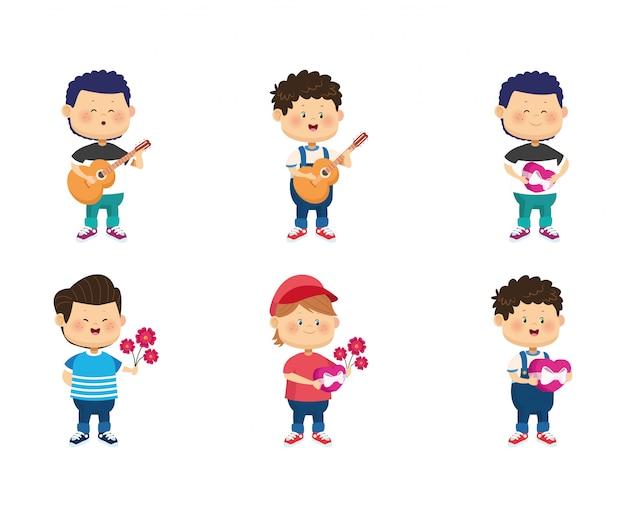 Symbolsatz der glücklichen jungen der karikatur mit liebesgeschenken