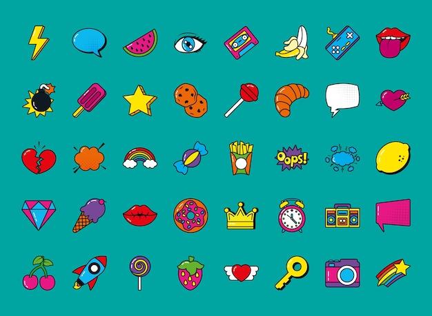 Symbolsatz der pop-art-elemente über türkisfarbenem hintergrund