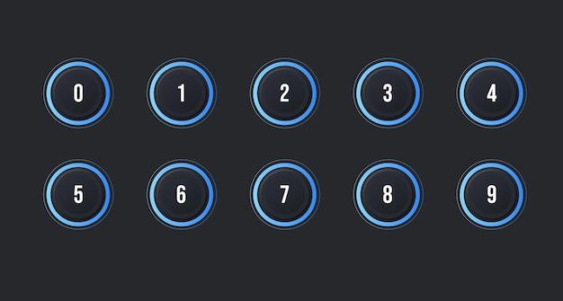 Symbolsatz des aufzählungspunkts von 1 bis 10 mit dunklem neumorphismus-effekt