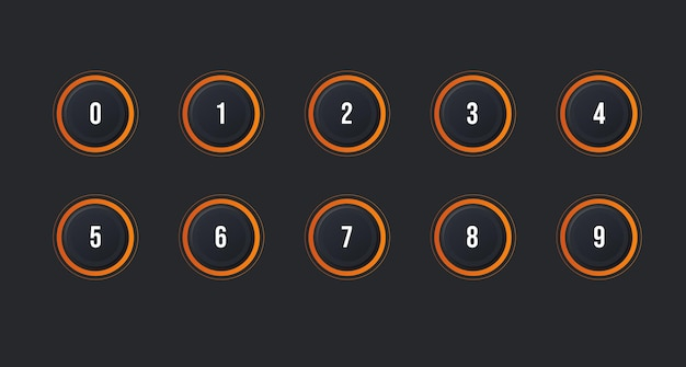 Symbolsatz des aufzählungspunkts von 1 bis 10 mit neumorphismus-effekt