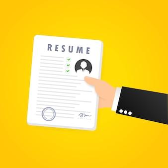 Symbolsatz fortsetzen. jobsuche. personal auswählen. suche nach fachpersonal. personallebenslauf analysieren. lebenslauf-formular. konzept der beschäftigung. vektor auf weißem hintergrund isoliert. eps 10.