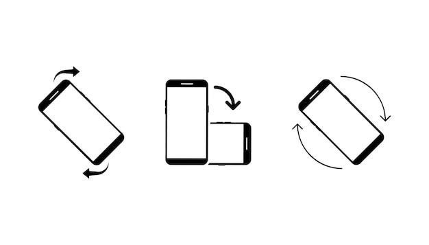 Symbolsatz smartphone drehen symbolsatz smartphone drehen telefon drehen bildschirmausrichtung ändern