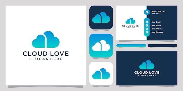 Symbolschablone der wolke und des zwei liebeslogodesigns und visitenkartenentwurf