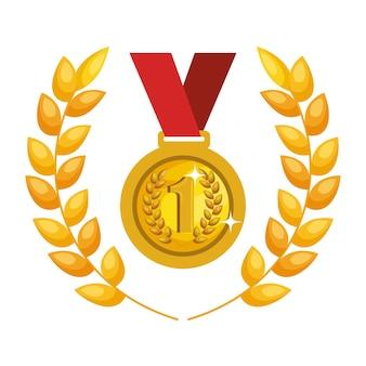 Symbolvektor-illustrationsdesign der medaille erster platz